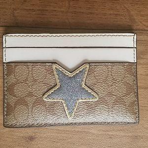 Coach Star Signature Card Case Khaki Glitter